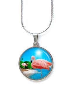 Edelstahl Kette Flamingos am Strand in der Sonne