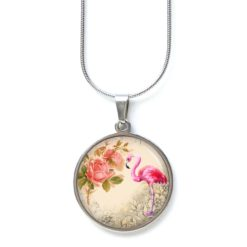 Edelstahl Kette rosa Flamingos mit zart rosa Blumen