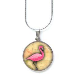 Edelstahl Kette rosa Flamingo auf Notenblatt - Musik