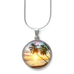 Edelstahl Kette Urlaub Palme beim Sonnenuntergang - Urlaubsfeeling