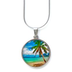 Edelstahl Kette Palme am Strand Meer Sonne Urlaub