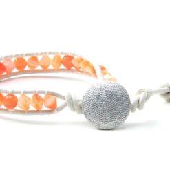 Wickelarmband aus Leder Orange - Geschenkidee von Just Trisha