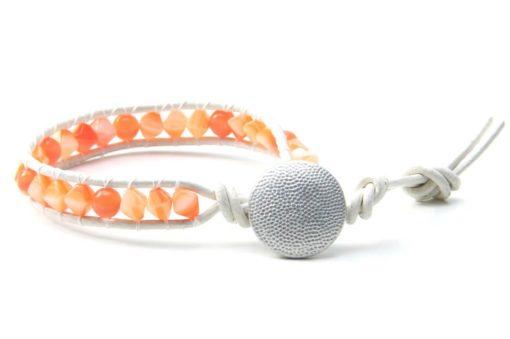 Wickelarmband Leder Orange
