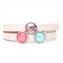 Leder Armband Cremeweißes mit 2 Wunsch Namen und Foto - Farbwahl