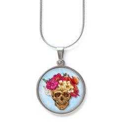 Kette Totenkopf Skull mit Blumen Frühling Hellblau
