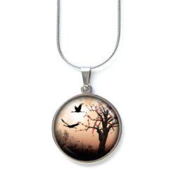 Edelstahl Kette mit fliegenden Gänsen Landschaft Baum