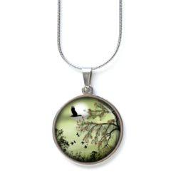 Edelstahl Kette mit Gänsen und Vögeln Landschaft Baum Grün