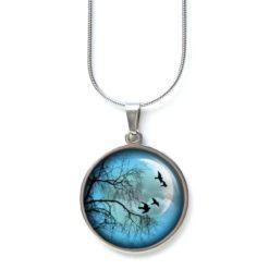 Edelstahl Kette fliegende Vögel mit Baum und blauer Vollmond