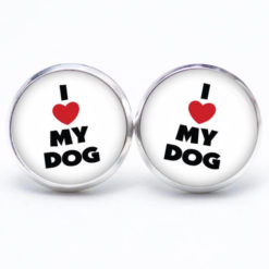 Druckknopf / Ohrstecker / Ohrhänger I love my Dog - Ich liebe meinen Hund