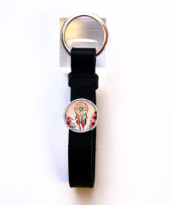 Schlüsselanhänger Leder schwarz Traumfänger rosa
