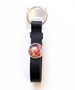 Schlüsselanhänger Leder schwarz mit eigenem Bild