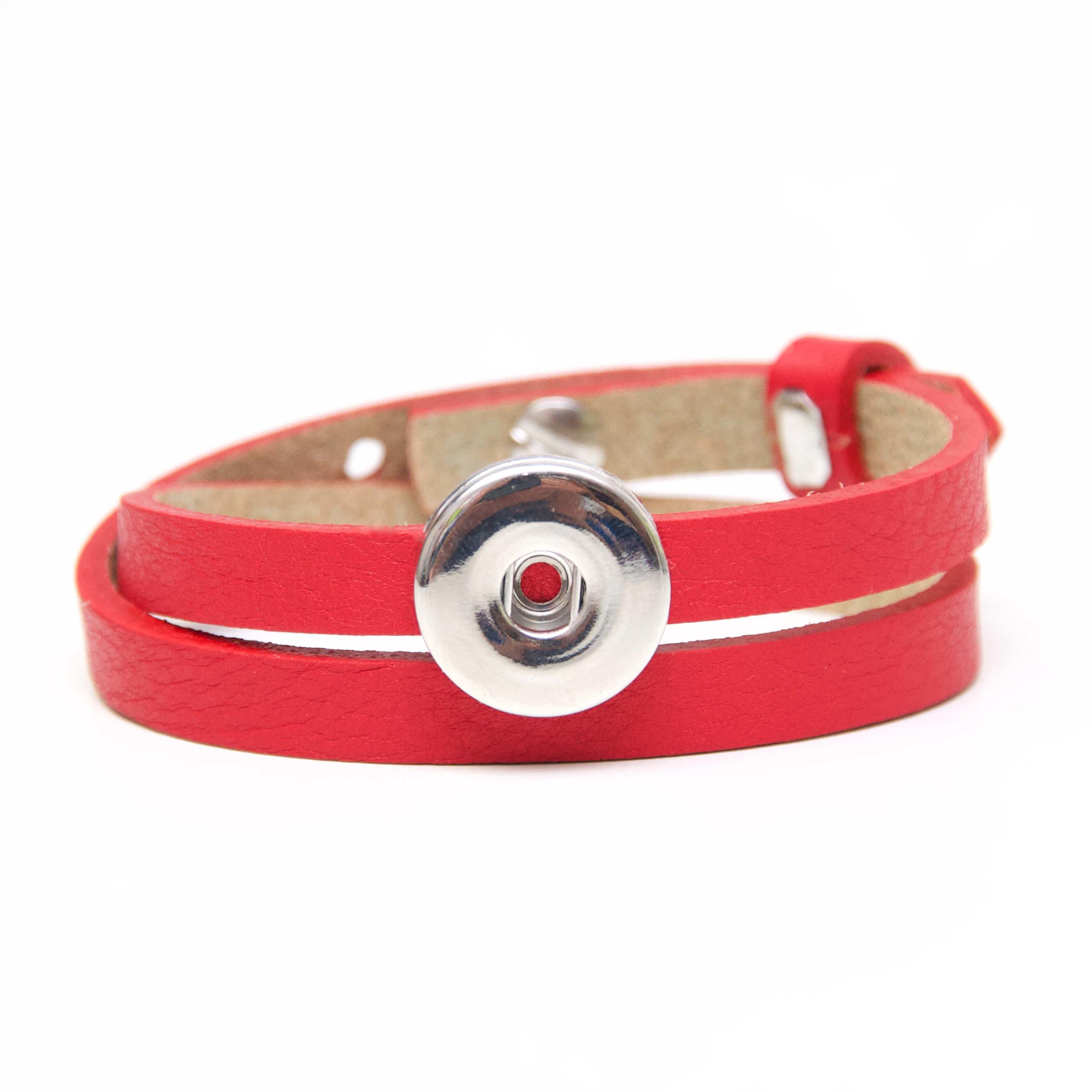 Druckknopf Lederarmband in rot für 16mm Druckknöpfe