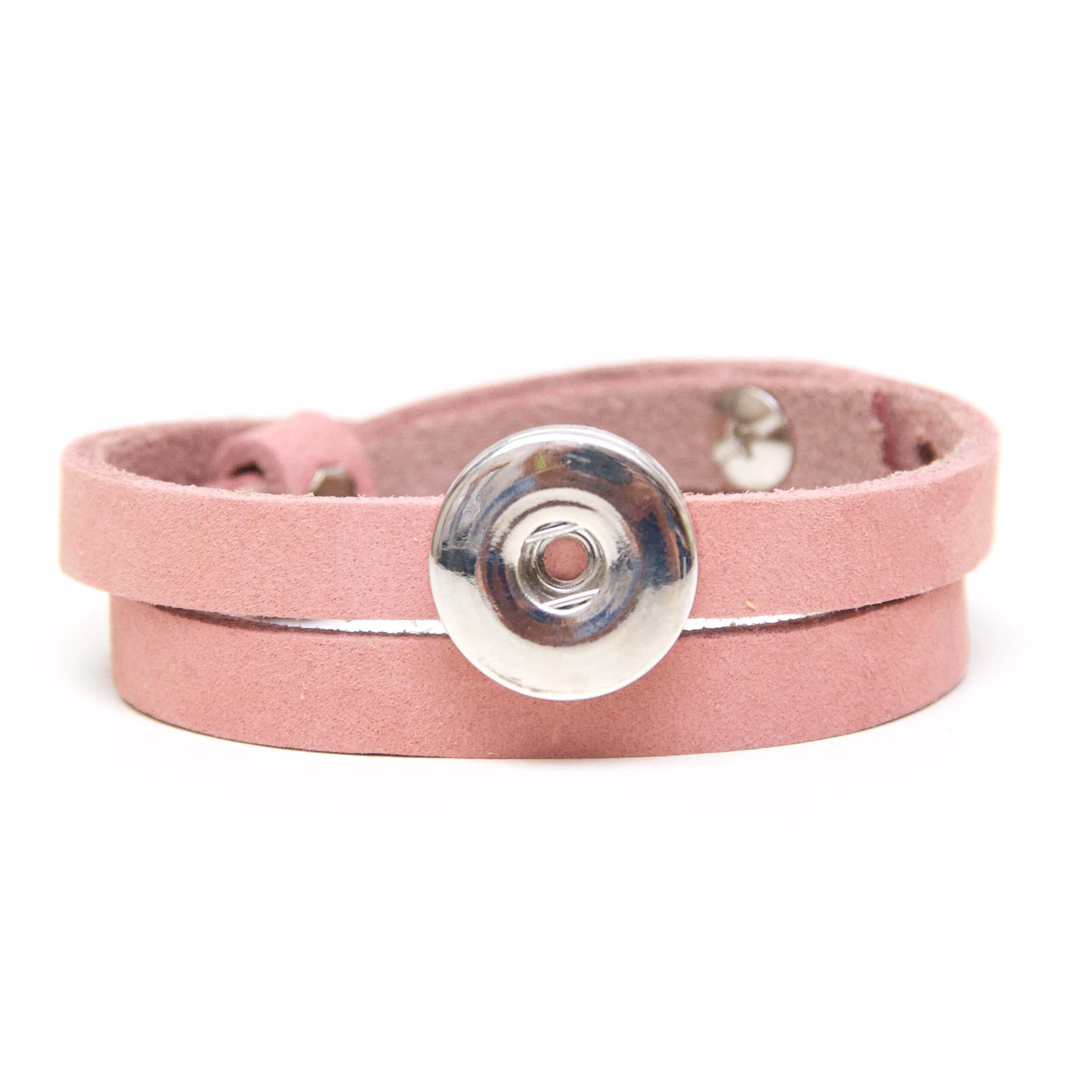 Druckknopf Lederarmband in zart rosa für 16mm Druckknöpfe