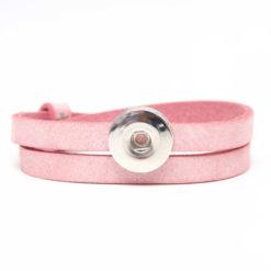 Druckknopf Lederarmband in rosa für 16mm Druckknöpfe