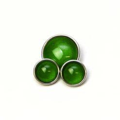 Druckknopf handbemalt grün schimmernd für Druckknopfschmuck