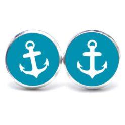 Druckknopf / Ohrstecker / Ohrhänger Anker maritim Meer hellblau weiß