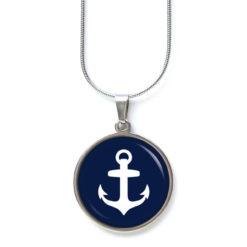Edelstahl Kette mit Anker maritim Meer in dunkelblau weiß
