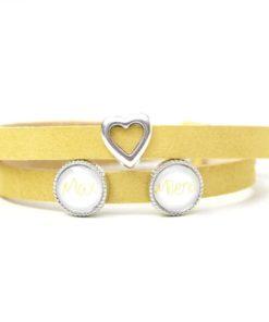 Gelbes Lederarmband mit 2 Schiebeperlen und silbernem Herz - Wunschtext - Farbwahl