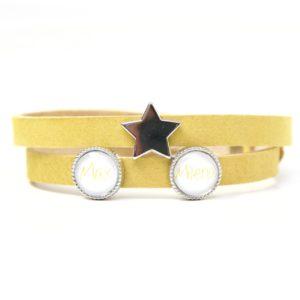 Gelbes Lederarmband mit 2 Wunsch Namen und Stern - Farbwahl
