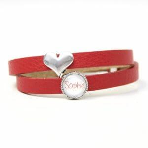 Rotes Lederarmband mit 1 Wunsch Namen und Herz - Farbwahl