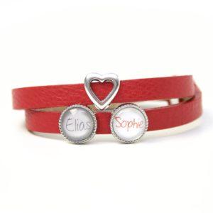 Rotes Lederarmband mit 2 Wunsch Namen und Herz - Farbwahl