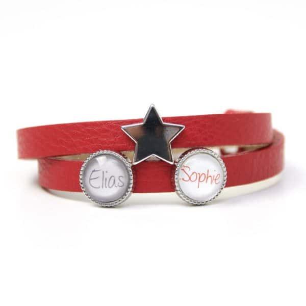 Rotes Lederarmband mit 2 Wunsch Namen und Stern - Farbwahl