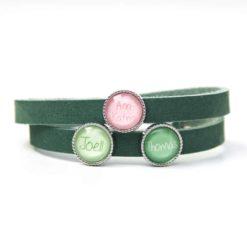 Grünes Lederarmband mit 3 Wunsch Namen - Farbwahl