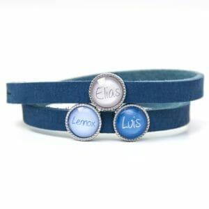 Blaues Lederarmband mit 3 Schiebeperlen - Wunschtext - Farbwahl