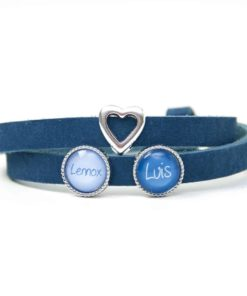 Blaues Lederarmband mit 2 Schiebeperlen und Herz - Wunschtext - Farbwahl