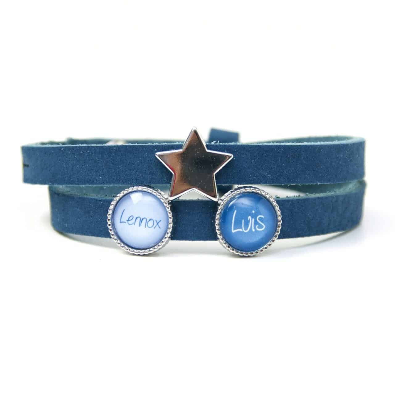 Blaues Lederarmband mit 2 Schiebeperlen und Stern - Wunschtext - Farbwahl