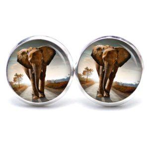 Druckknopf / Ohrstecker / Ohrhänger großer Elefant