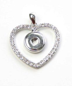 Mini Druckknopf Anhänger Herz mit Strass für 10mm Druckknopf