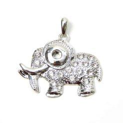 Mini Druckknopf Anhänger Elefant mit Strass für 10mm Druckknopf
