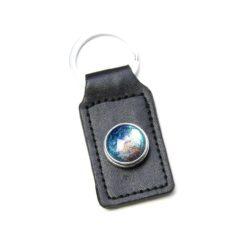 Druckknopf Schlüsselanhänger Leder schwarz