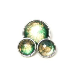 Druckknopf handbemalt grün dunkelgrün gold schimmernd