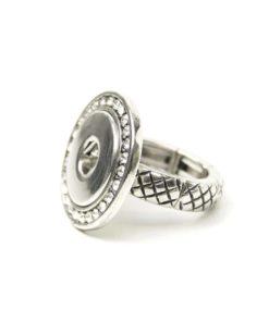 Druckknopf Ring mit Strass für 16mm Druckknopf