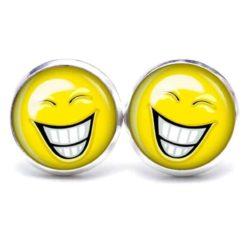 Druckknopf / Ohrstecker / Ohrhänger lustig lachender Smiley
