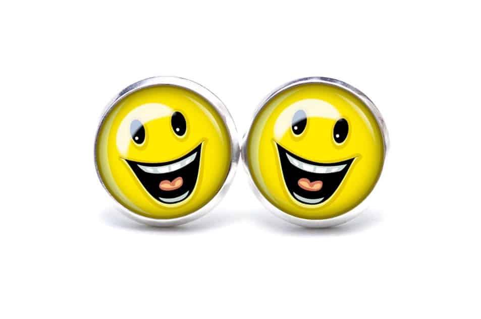 Druckknopf / Ohrstecker / Ohrhänger lachender Smiley