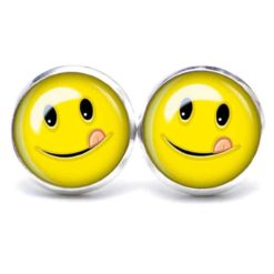 Druckknopf / Ohrstecker / Ohrhänger Zunge zeigender Smiley