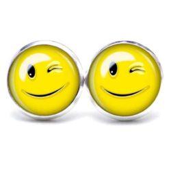 Druckknopf Ohrstecker Ohrhänger lustig zwinkernder Smiley