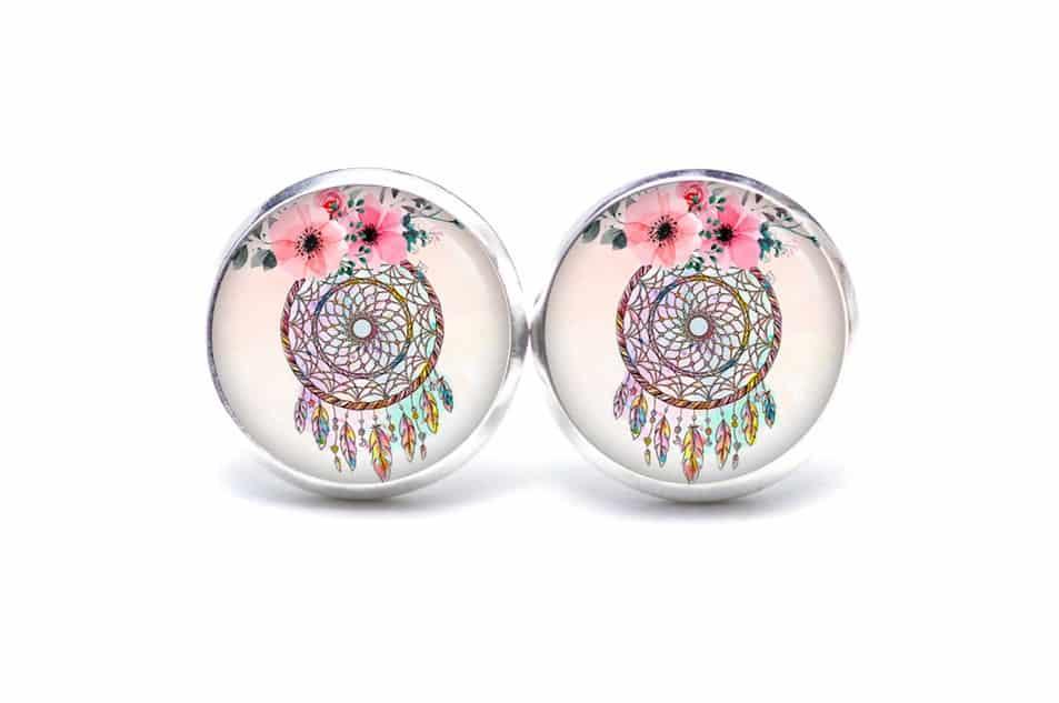 Druckknopf / Ohrstecker / Ohrhänger Traumfänger in rosa mit Blumen