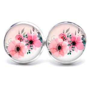 Druckknopf / Ohrstecker / Ohrhänger große rosa Blumen - romantisch