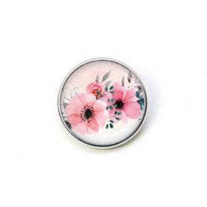 Druckknopf rosa Blumen