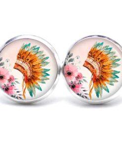 Druckknopf / Ohrstecker / Ohrhänger Indianer Federhaube Blumen