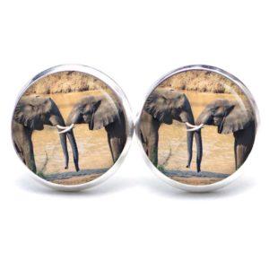 Druckknopf / Ohrstecker / Ohrhänger zwei Elefanten
