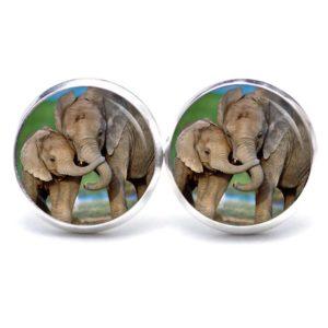 Druckknopf / Ohrstecker / Ohrhänger Elefant mit Baby Elefant