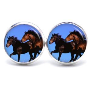 Druckknopf / Ohrstecker / Ohrhänger zwei Pferde beim rennen