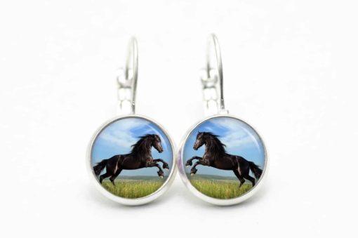 Druckknopf / Ohrstecker / Ohrhänger springendes schwarzes Pferd Pferde