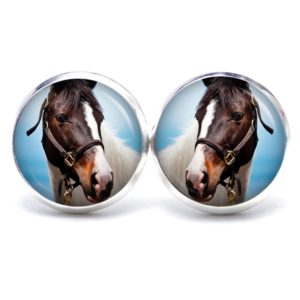 Druckknopf / Ohrstecker / Ohrhänger Pferd Pferdekopf weiß braun