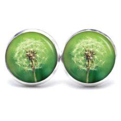 Druckknopf / Ohrstecker / Ohrhänger große Pusteblume in grün
